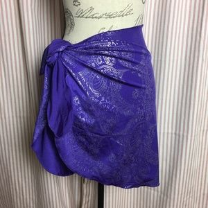 Purple and Silver Paisley Swim Sarong